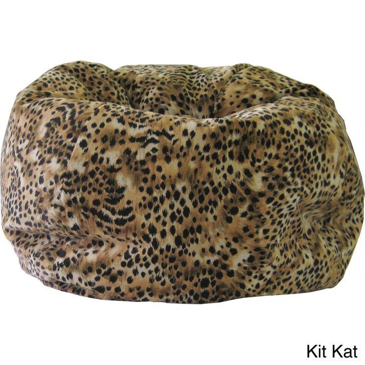 Gold Medal Child Size Animal Print Bean Bag (Kit Kat), Black, Size Medium (Suede)