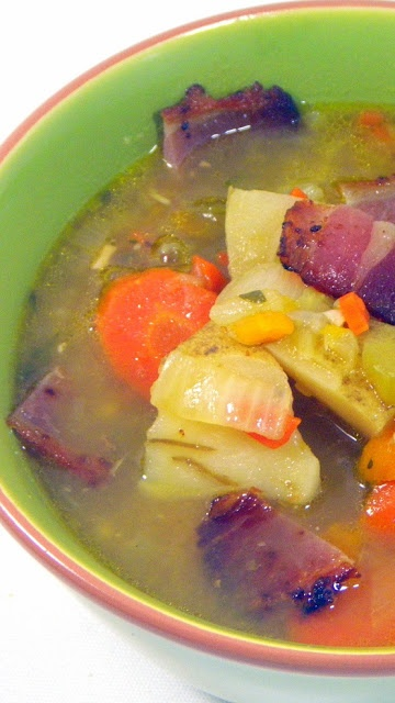Peasant Potato and Bacon Vegetable Soup to fight the FLU...Zuppa di patate pancetta Contadina.  The flu has hit our house but this soup did more to help than the medicine.  Rich and loaded with flavors of carrots, celery, onions, potatoes and BACON BACON BACON