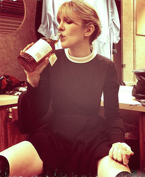 Lily Rabe on set of American Horror Story in her outfit for 'Sister Mary Eunice' photograph taken by Sarah Paulson.