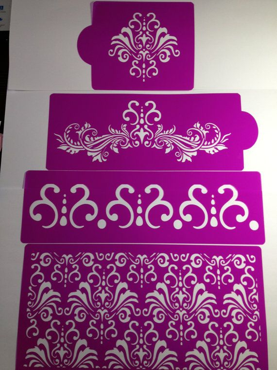 Chic Damask Cake stencils4 pieces   cake decorating by Stenciland, $29.00