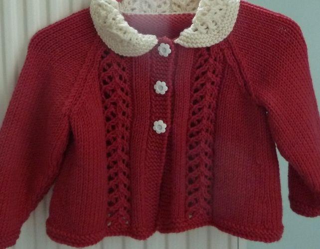Vintage-style lace-panel cardigan in deep pink merino wool £20.00