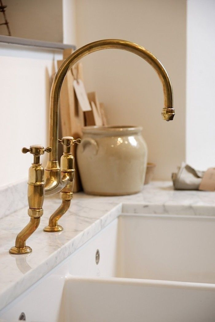 Found: The Perfectly Aged Brass #KitchenFaucet  UK fixture specialists Perrin & Rowe have developed the perfect vintage-looking brass kitchen mixer faucet and related designs: the deVol aged brass taps.