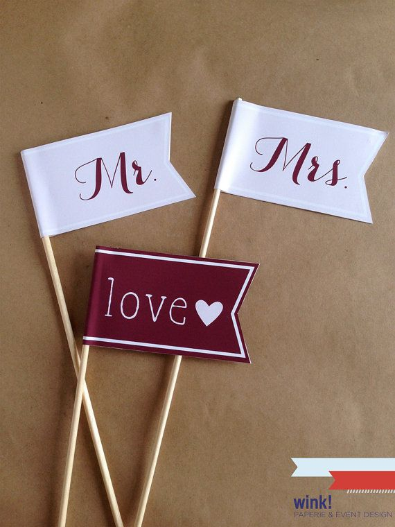 Wedding Flags / Photo Props / Mr and Mrs Flags / Flags on Sticks / Banners / Celebration Flag / Pennant on Stick / Photo Booth Prop / Favor