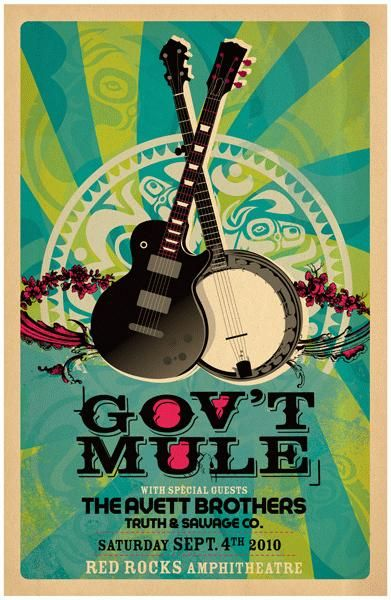 Original silkscreen concert poster for Gov't Mule and the Avett Brothers at Red Rocks Amphitheatre in Denver, CO  in 2010.  14 x 22 inches on card stock.