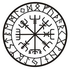 Viking protection runes vegvisir compass talisman black vinyl decal