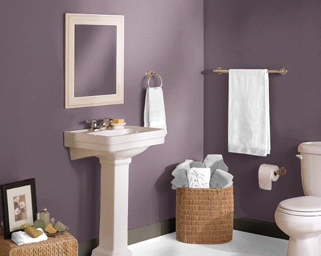wainscoting ideas for bathrooms pictures - Bathroom in Expressive Plum Bathroom Re Do