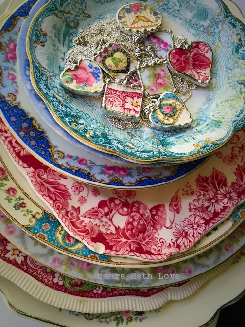 Broken china jewelry by Laura Beth Love of Dishfunctional Designs