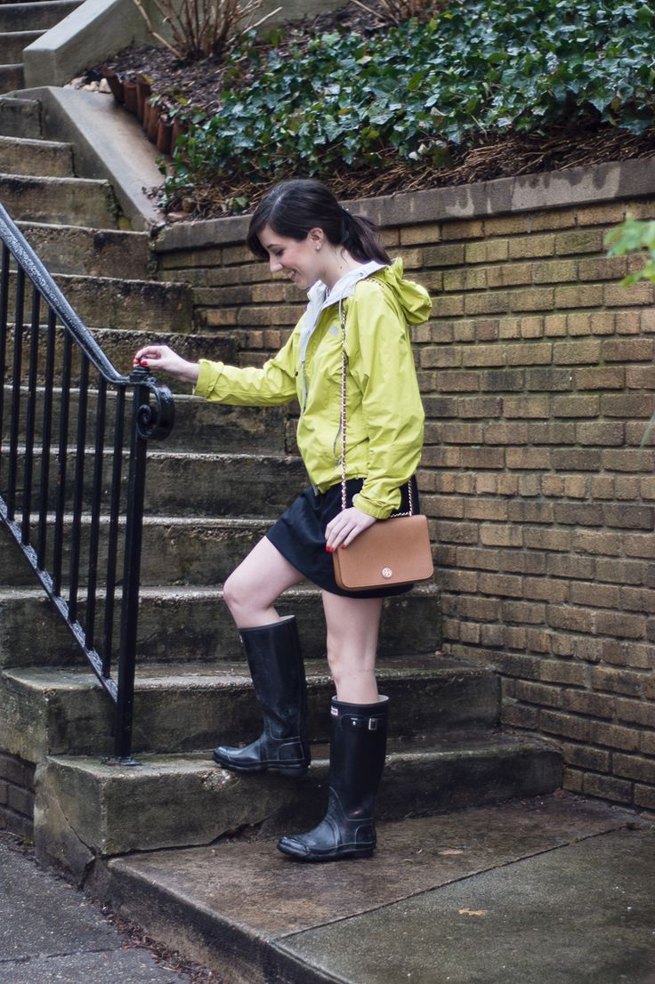 Orchids and Oxfords: North Face Rain Jacket, Hunter boots, J.Crew skirt