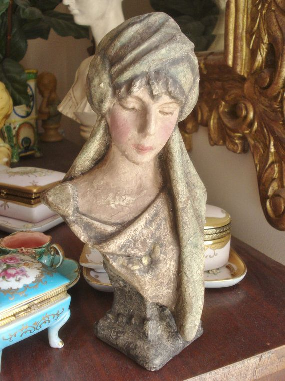 38 Best Antique And Vintage Chalkware Plaster Busts Images
