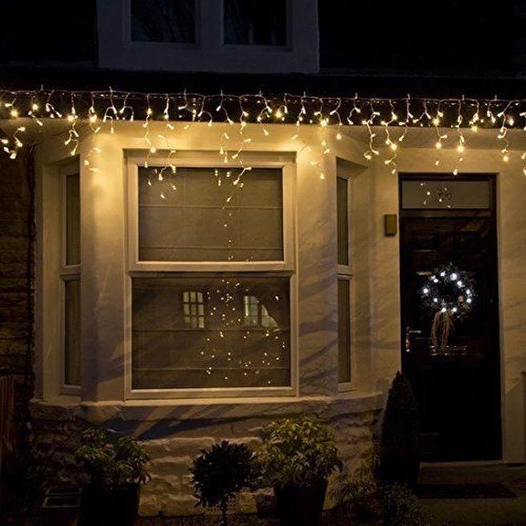 Eisregen Eiszapfen Lichterkette LED für Außen Weihnachten warmweiß vorhang TOP