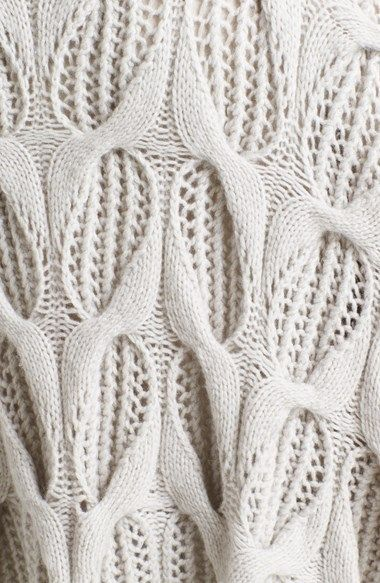 Donna Karan Collection Hand Knit Cashmere Sweater | drop stitch lace cables