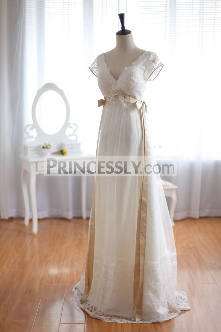 Vintage Inspired Lace Tulle Wedding Dress Deep V Back with Cap Sleeves Maternity Dress