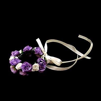 nydelig hvit med lilla papir blomst bryllup blomsterpike / brude håndleddet blomst – NOK kr. 19