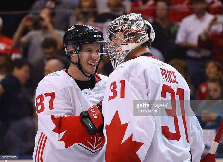 Sidney Crosby #87 and Carey Price #31 of Team Canada celebrate a 4-2 victory over Team USA during the World Cup of Hockey tournament at the Air Canada Centre on September 20, 2016 in Toronto, Canada.