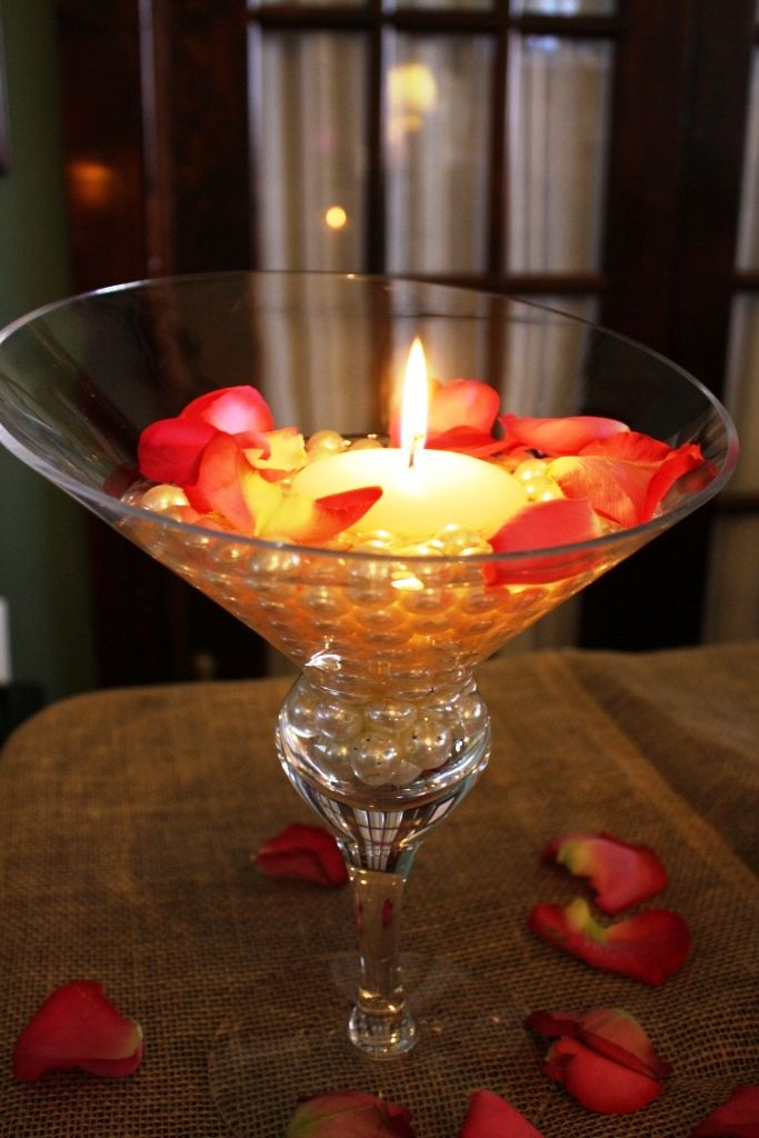trio of these for your bar, no pearls and red rose petals instead of pink