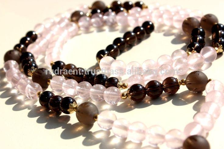 Smoky, Rose Quartz Buddhist Mala Beads, Mantra Engraved Mala Necklace