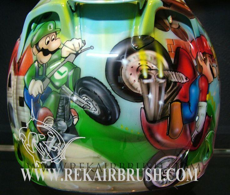 SUPERMARIO BROS COMIC CON Custom airbrushed motorcycle helmet, HCI 75, Bell Arrow, Speed and Strength, ARAI, ICON and Bandit helmets by REKAIRBRUSH