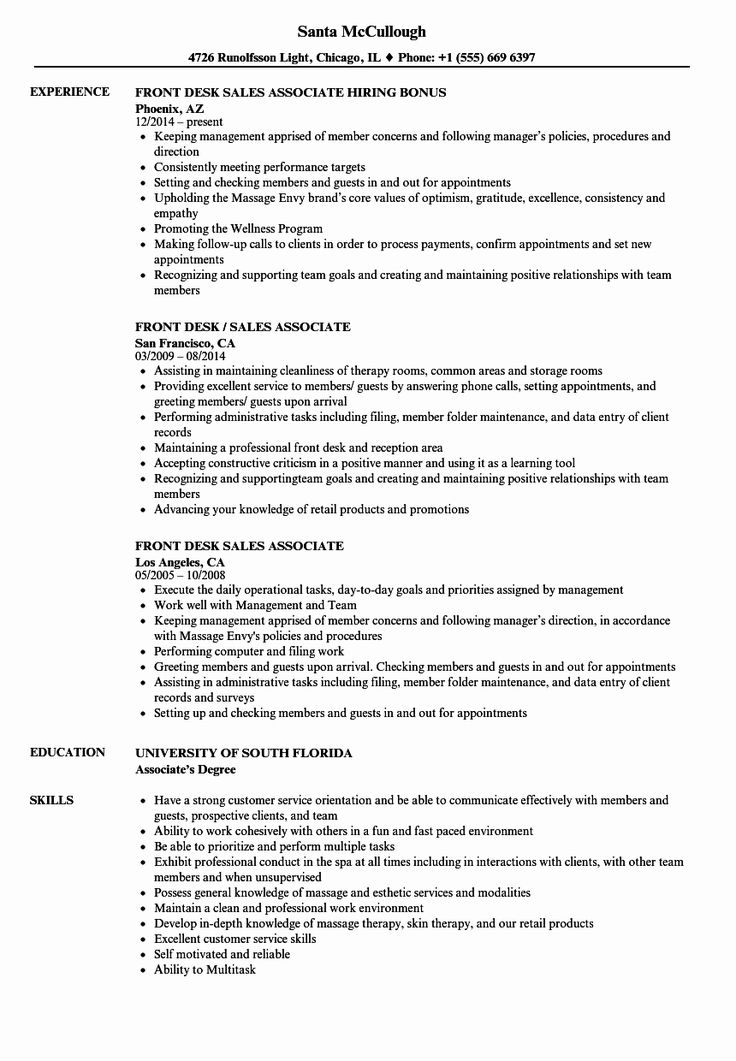 Jewelry Sales associate Resume Beautiful Front Desk Sales