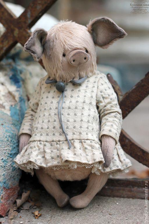 Купить Жоржетта - бледно-розовый, кремовый, бежевый, серый, поросенок, свинка, хрюшка, мишка тедди