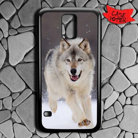 Wolf Run On White Snow Samsung Galaxy S5 Black Case