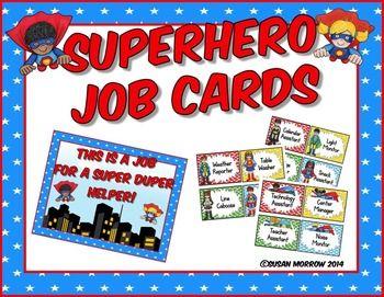 Superhero Classroom Job Cards  (Susan Morrow, TpT)- Editable!