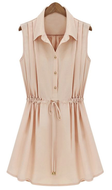 Apricot Sleeveless Drawstring Waist Pleated Chiffon Shirt Dress