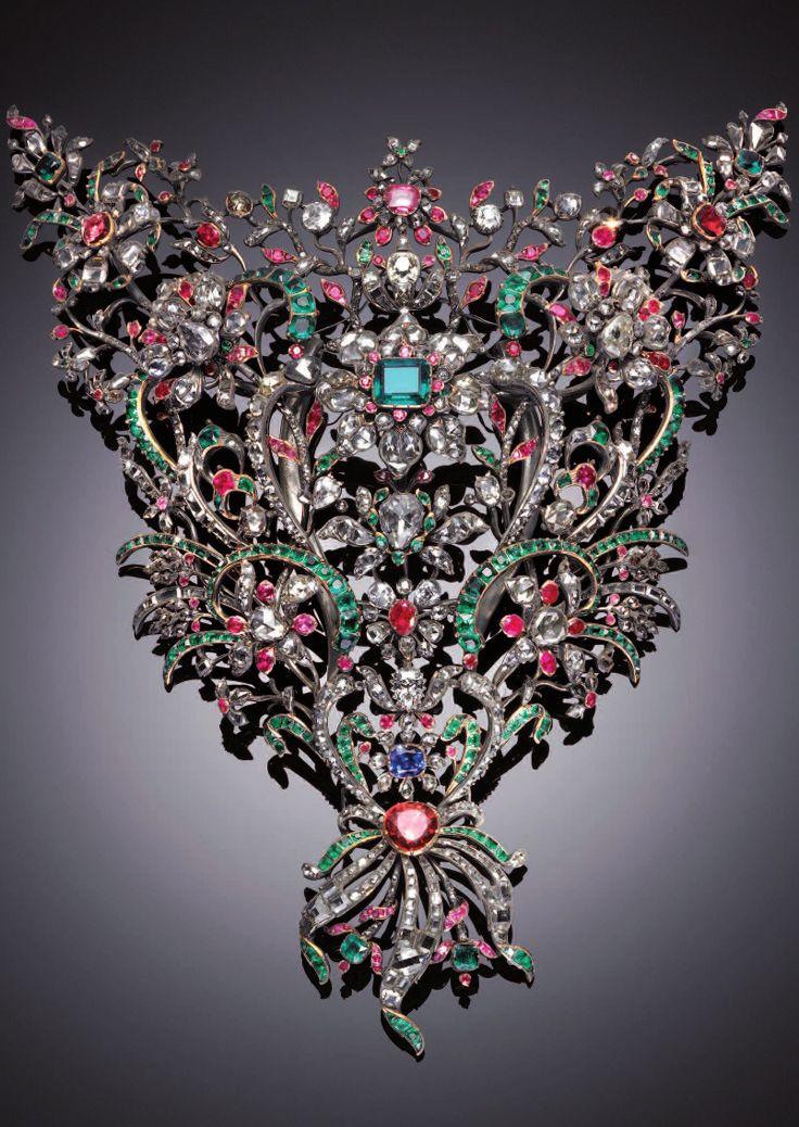 DEVANT DE CORSAGE~ ROYAL HOUSE OF SAVOY, ITALY~  Giovanni Amedeo Tempia, jeweler; Benedict Giacomino, Italy, 1758, silver, gold, diamonds, emeralds, rubies, sapphires, garnets. Savoy Royal Jewel