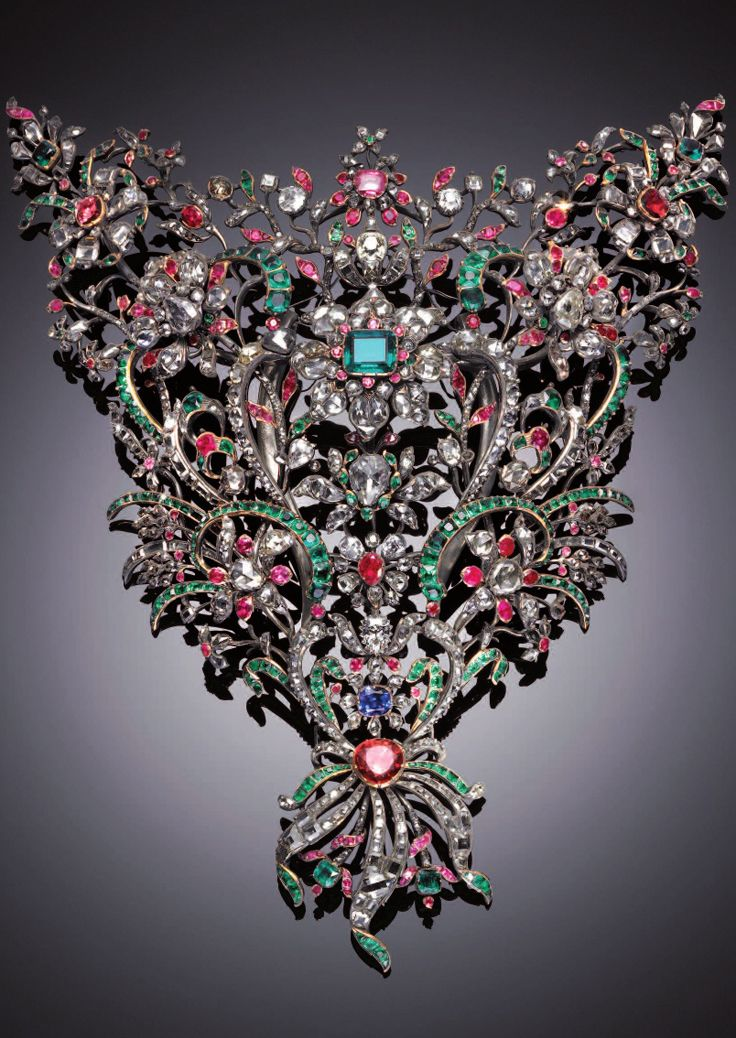 DEVANT DE CORSAGE~ ROYAL HOUSE OF SAVOY, ITALY~  Giovanni Amedeo Tempia, jeweler; Benedict Giacomino, Italy, 1758, silver, gold, diamonds, emeralds, rubies, sapphires, garnets. Savoy Royal Jewel