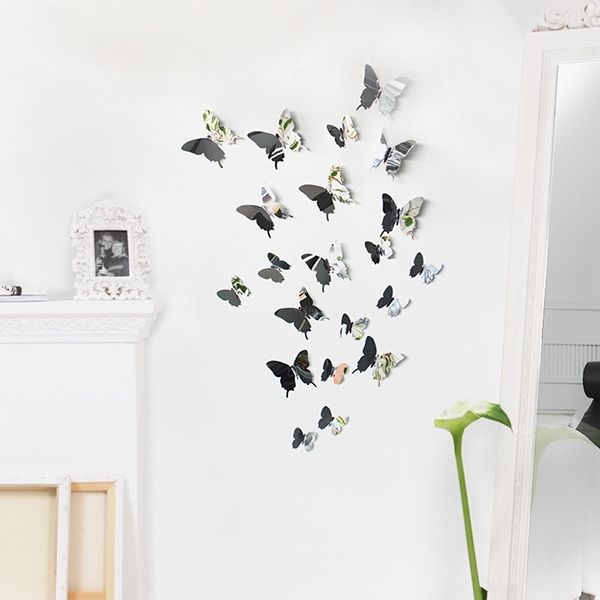 New D Deko Schmetterlinge Chrom