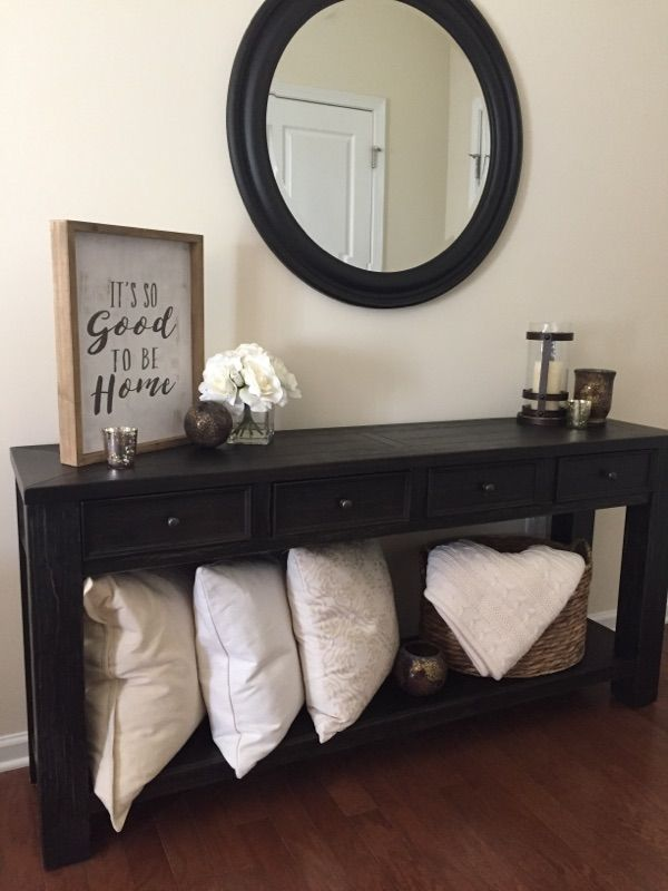 LOVE love love our new Pottery Barn-inspired entry way! Table [on sale] from Overstock, all decor from Hobby Lobby and TJ Maxx/Home Goods.
