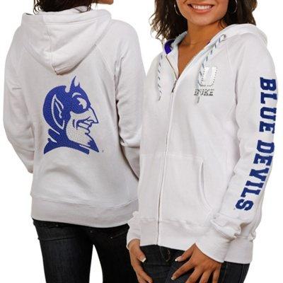 Duke Blue Devils Ladies White Glitz & Glamour Full Zip Hoodie Sweatshirt