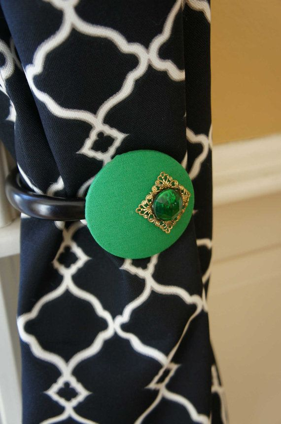 Emerald Green Curtain Tie back Tieback Spring Trend Home Decor Pantone Color of the Year