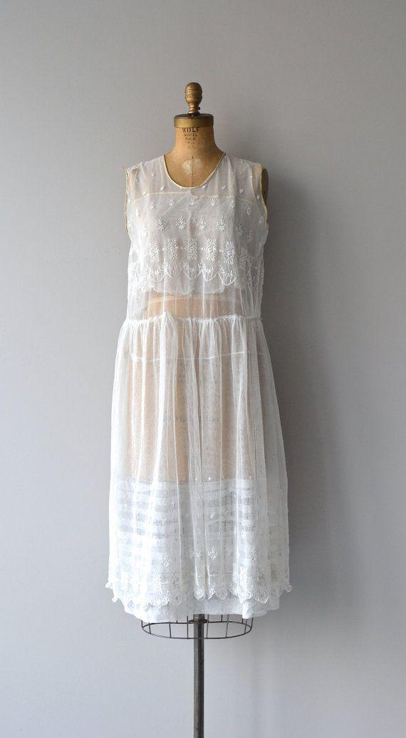 Comme L'Air dress 1920s lace and net dress vintage by DearGolden