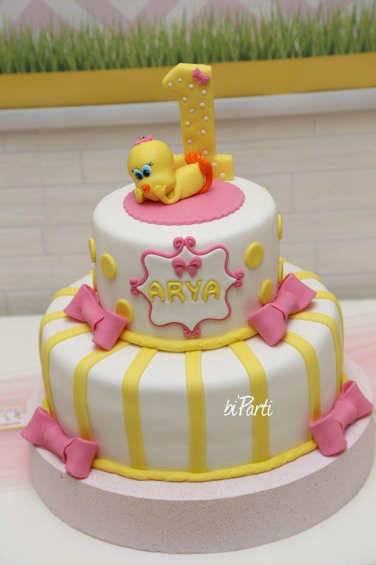 Tweety cake. Yellow pink cake. Baby girl cake. First birthday cake. 1stbirthday cake.