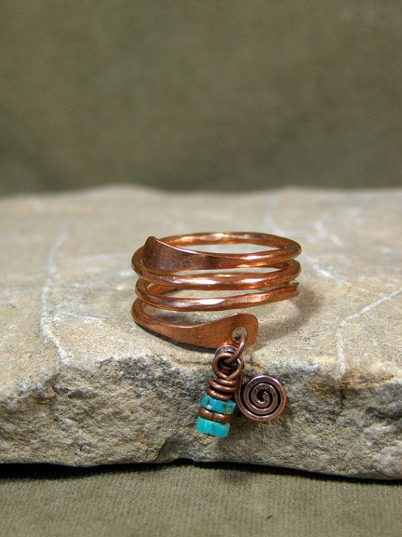 Turquoise and Copper Ring  Handcrafted   by StoneWearDesigns