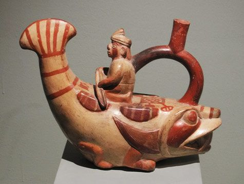 Moche sculptural stirrup spout bottle Larco Museum –  Lima, Peru