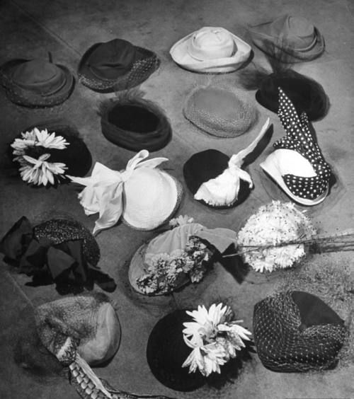 Jacques Fath hats photographed by Nina Leen, 1948
