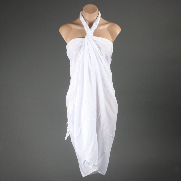 White Solid Tropical Beach Fringe Sarong Wrap Dress