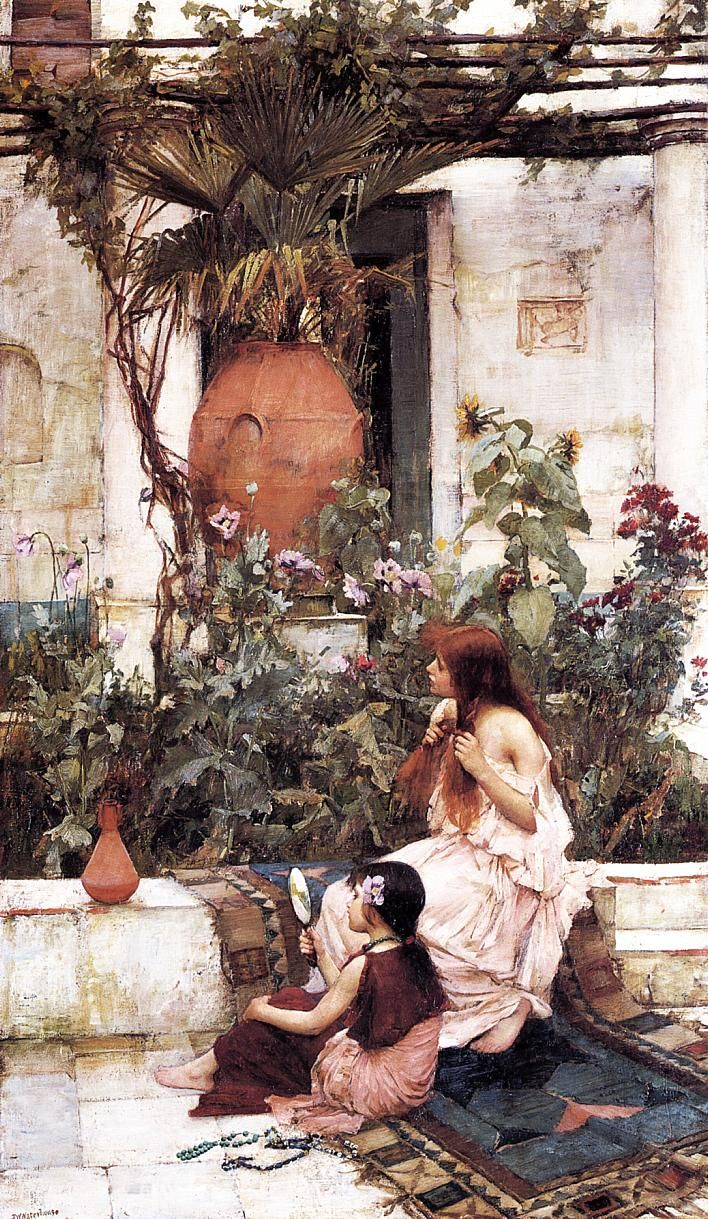 pre-raphaelisme:   The Toilet (At Capri) by John William Waterhouse, 1889.