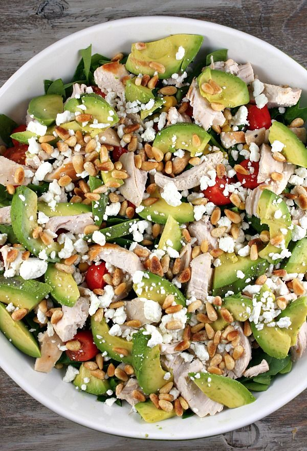 Spinach Salad with Chicken, Avocado and Goat Cheese. I would use feta instead of goat cheese