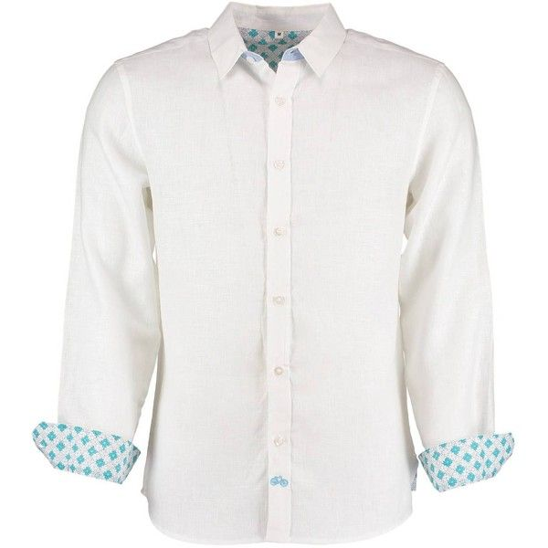 Tobias Clothing - Karnataka White Linen Shirt (€95) ❤ liked on Polyvore featuring men's fashion, men's clothing, men's shirts, men's casual shirts, mens white french cuff dress shirt, mens patterned shirts, mens french cuff shirts and mens white shirts