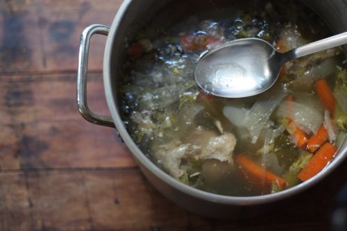 Turkey broth from Thxgiving leftovers (freezes for up to 6 mos)