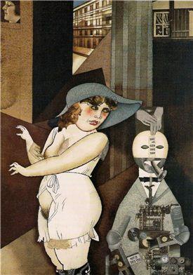 게오르그 그로츠, 자동인형 조지와 결혼했다, 1920년,  베를린 갤러리.  그림 왼편에 있는 모자를 쓴 여인이 그로츠의 아내 루이제 페터다. 여인의 흰 속옷은 신혼을 암시한다. 그런데 외음부가 노출되어 있는데, 이는 여자가 결혼한 후에는 성적 욕구로부터 자유롭다는 것을 뜻한다. 반대로 남자는 결혼 후에 성욕이 아닌 현실적 문제에 관심을 보인다는 뜻으로 기계로 묘사되어 있다.  성적으로 솔직하다는 것은, 추한 것일까? 신혼임에도 불구하고 아름답게 그려지지 아니한 대신에, 여인은 두꺼운 팔과 다리, 퀭한 눈을 가지고 있다. 한편 그녀의 상기된 볼은 성적 욕망이 일어나고 있음을 말해주는 것 같다. 결혼하고나서 '안정적으로' 성적 욕망을 해결할 수 있게 됨으로써 여성이 더욱더 성행동에 탐닉하게 되는 것을 그린 것 같다. 과유불급. 지나친 것은 모자람만 못하다. 그래서 이 여인은 아름답게 그려지지 않았다.