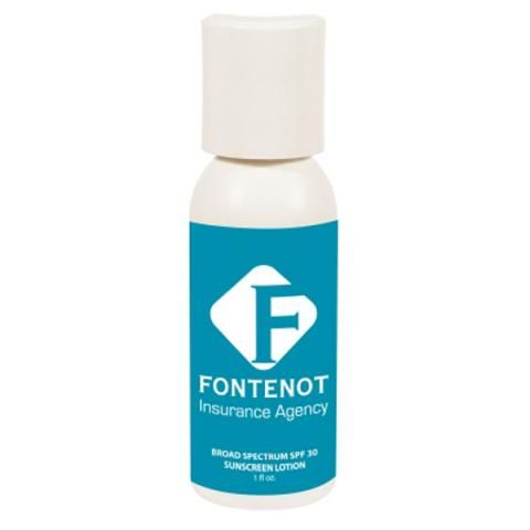 SPF 30 sunscreen bottle with push top lid., protect your skin from damaging sun rays. SPF 30. Broad spectrum formula protects against both UVA and UVB rays, reducing the risk of sunburn, skin cancer and premature skin aging. Meets FDA requirements.