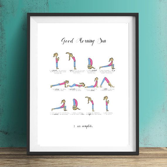 Sun Salutation Illustrated Yoga Poster for Happy by indieBerries