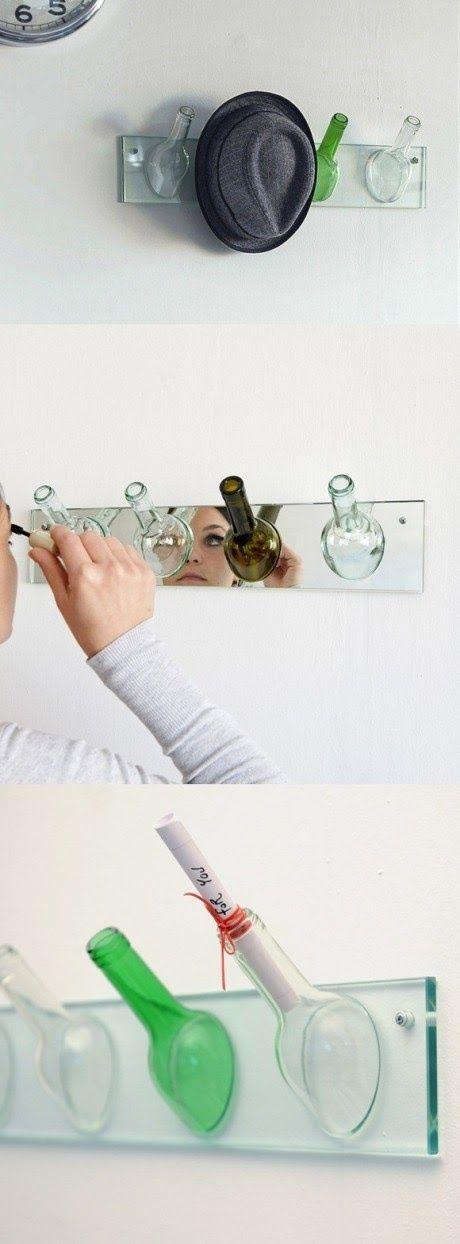 cortar botella de vidrio perchero para hogar como hacer