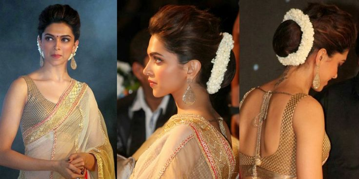 White garland made of real or artificial jasmine flowers or its buds! It looks amazing on low bun, lie Deepika Padukone has flunted it!This is perfect hairstyle for traditional dresses you will wear on Navratri, diwali, Weddings or puja..Sometimes it has red rose pellets and green leaves also, but plain white has unique look!