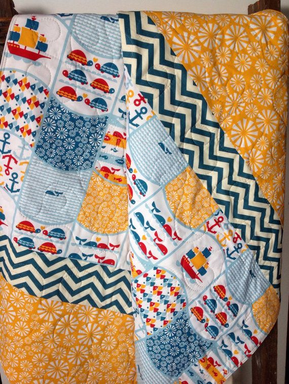 Baby Quilt, Nautical, Organic, Modern,Cottage, Marine Too, Whales, Turtle, Sail Boats, Baby Blanket, Crib Bedding, Nursery Quilt on Etsy, $115.00
