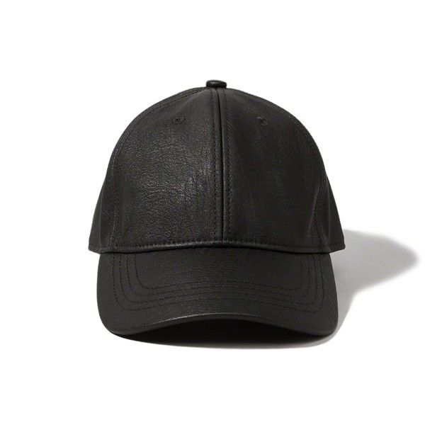 Abercrombie & Fitch Faux Leather Baseball Cap (336.120 IDR) ❤ liked on Polyvore featuring accessories, hats, black, headwear, black hat, black baseball cap, black baseball hat, baseball hats and faux leather baseball hat