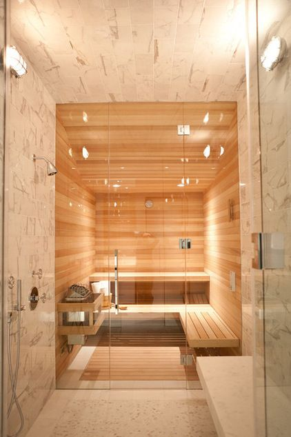 Sauna and shower... nice! Wish I had the space for this contemporary bathroom by Marsh and Clark Design